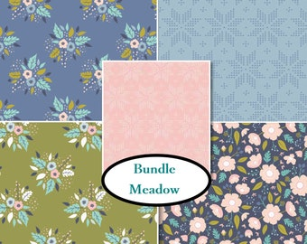 5 prints, Meadow, Camelot Fabric, flower, pink, cactus, 1 of each print