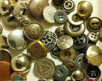 50 buttons metal, and imitation metal, 1950-1980, colors various, different sizes, photo example