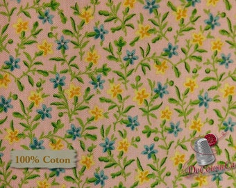 Little flower, vintage, blue, corn, pink, Quilting Treasures, 100% cotton, (Reg 2.99-17.99)