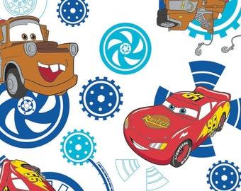 Disney, Pixar, Cars, fond blanc, 85070103, col 02, Camelot Fabrics, 100% Cotton, quilt cotton