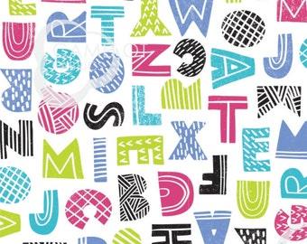 Letters, white, Mod Blocks, 27180109, col 01, Camelot Fabrics, 100% Cotton, quilt cotton, (Reg 2.99 - 17.99)