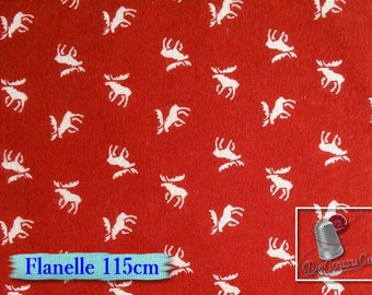 Flannel, Moose, red, white, Camelot Fabrics, many yards will be cut as one piece, Flannel 100% high quality cotton