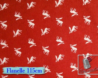 Flannel, Moose, red, white, Camelot Fabrics, many yards will be cut as one piece, (Reg 2.99 - 12.95)