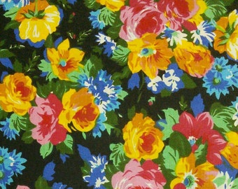 Flower, black, pink, yellow, blue, Édition Fabric, multiple quantity cut in one piece, 100% Cotton