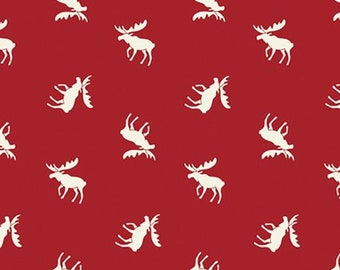 Moose, crimson, Hudson, 21172103, col 01, Camelot Fabrics, multiple quantity cut in one piece, 100% Cotton