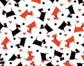 Mini Scotties, white, Dotty for Scottie, Kanvas, 7888, Benartex, cotton, cotton quilt, cotton designer
