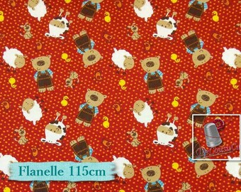 Flannel, Farmer animal, Camelot Cotton, fat quarter at the yard, multiple quantity cup in a pièce, Flannel 100% high quality cotton