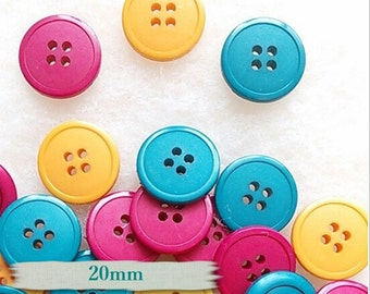 BF17, 3 buttons, 20mm, Yellow, Buttons, Fuschia, Teal,