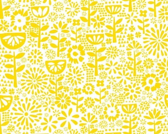 Flower, yellow, white, Village Life, 30180102, Camelot Fabrics, 100% Cotton