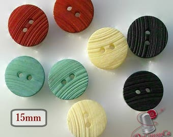 8 Buttons, 15mm, 6L, red, mint, cream, black, vintage, BA35