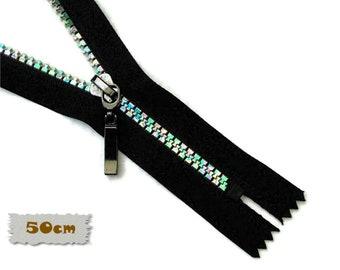 Vizzy, 50cm, Rainbow, Black, Zippers, Metal Slider, No. 5, 20 Inch, Decorative Clasp, Non-Detachable, (Reg 4.90)