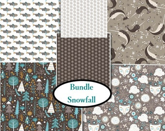 6 X 1/4 yard, 6 prints, Snow Fall, Camelot Fabric, 1 of each print