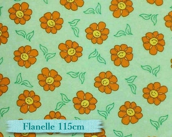 Flannel, Flower orange, green, 100% cotton