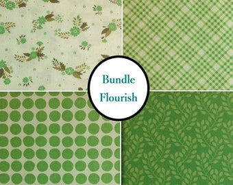 4 prints, Flourish, green, Camelot Fabrics, Bundle, 1 of each print, 100% coton