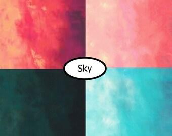 4 prints, Sky, Robert Kaufman,  bundle, 1 of each, (Reg 15.04-44.04)