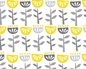 Flower, grey, yellow, white, Village Life, 301801076, Camelot Fabrics, 100% Cotton