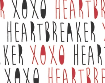 White and black writing, red, XOXO, 21190702, col 01, Camelot Fabrics, cotton, cotton quilt, cotton designer
