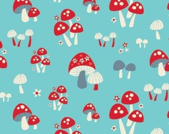 Mushroom, turquoise background, 61190304, col 01, Enchanted Forest, Camelot Fabrics, 100% Cotton
