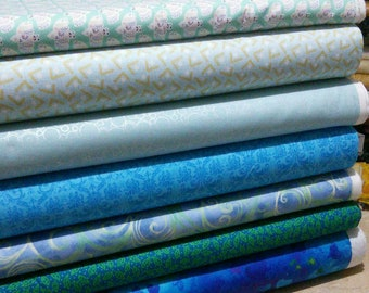 Bundle of 7 prints, Turquoise, Quilt Cotton, 1 of each print