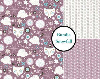 3 prints, Snow Fall, Camelot Fabric, lilac, 1 of each print