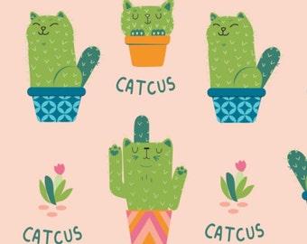 Cactus, cat, Very Punny, 21181702, Camelot Fabrics, cotton, cotton quilt, cotton designer