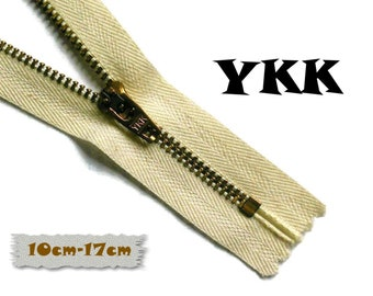YKK, 10cm at 17cm, Natural, Zipper, Cursor 45u, Cotton, Metal Mesh, Cotton, Zipper, Non-Detachable, ZC1