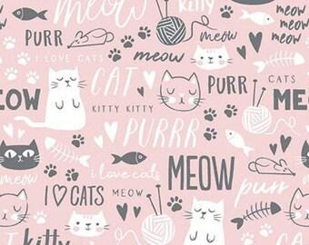 PINK, Cat, TEXT, Purrfect Day, 9902, Riley Blake, cotton quilt, cotton designer