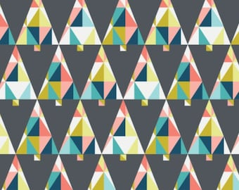 Triangle, trees, dark gray, 61170105, Oh What Fun, Camelot Fabrics, multiple quantity cut in one piece, 100% Cotton
