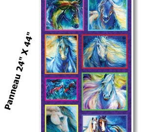Panel, Painted Horses, 06661, col 99, Benartex, 100% Cotton