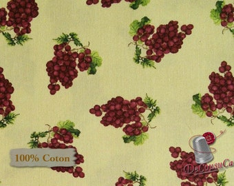 Grapes, Vintage, Mary Beth Baker, Henry Glass & Co, 1138, multiple quantity cut in 1 piece, 100% Cotton