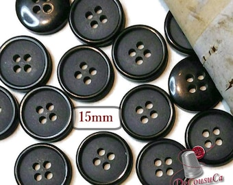 25 Buttons, 15mm, black, 4 holes, BA62, (Valeur de 7.50)