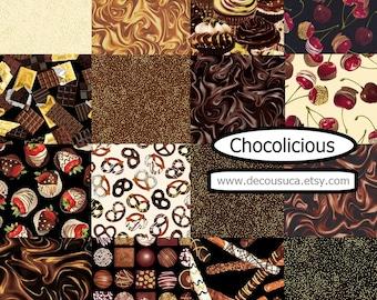 Bundle of Chocolate, fabric of Caramilk, Pretzel, Cherries - Chocolicious of Kanvas