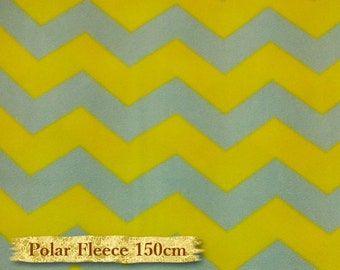 Zigzag, yellow, gray, Polar Fleece, David Textiles, fabric, 150cm, anti-pilling,