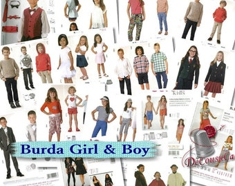 10 models, Burda, boys, girls, kids, 18M-15, liquidation, new, uncut
