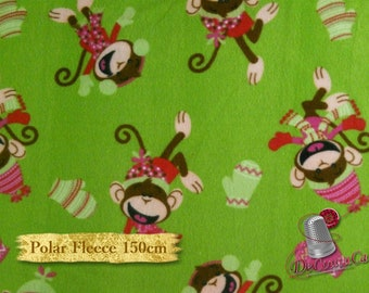 Monkey, green, Camelot Fabrics, Polar Fleece, 150cm, anti-pilling, multiple quantity it will be delivered in one piece