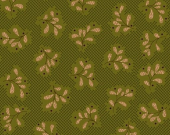 Olive green, beige, Katie's Cupboard, Kim Diehl, Henry Glass & Co, 6672, multiple quantity cut in 1 piece, (Reg 2.99-17.99)