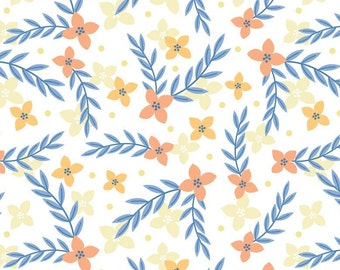 Flowers, blue, white, Do what you love, 2241504, col 01, Camelot Fabrics, cotton, cotton quilt, cotton designer, (Reg 2.99-17.99)