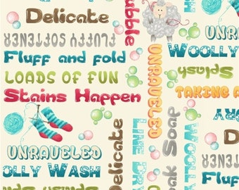 Writing, knitting, sheep, woolen stockings, 8954, Splish Splash, Henry Glass & Co, 100% Cotton