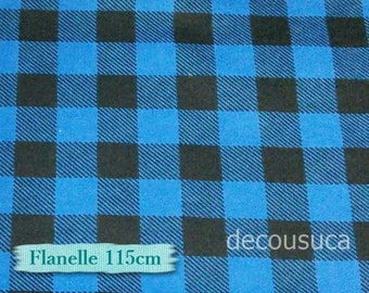 Flannel, Buffalo, plaid, blue and black, many yards will be cut as one continuous piece, 100% Cotton