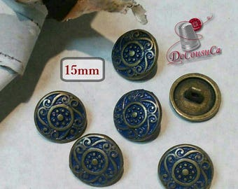 6 buttons, Blue and bronze, 15 mm, metal, rod, décoratif button, sound button, coat button, vintage, BM05