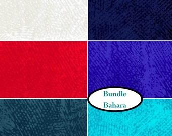 Bundle, 6 FE, 6 FQ, 6 X 1/4 yard, 6 X 1/2 yard, 1 of each, Bahara, P & B Textiles, 100% cotton