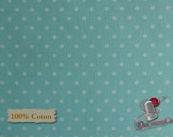 Dot white, turquoise, Free Spirit, multiple quantity cut in one piece, 100% Cotton, (Reg 2.99-17.99)