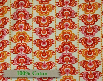 Sunborn Garden, by Hemma Design, for Red Rooster Fabrics, DSN 25019, flowers, red, orange, Cotton
