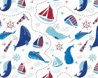 The ocean, white, 61170401, col 01, Ahoy Matey, Camelot Fabrics, 100% Cotton, (Reg 2.99-17.99)
