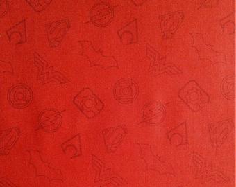 Symbol, red, Justice League, DC Comics, 23421203, Camelot Fabrics, cotton, cotton quilt, cotton designer