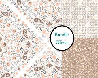 3 prints, 1 of each, Olivia, Camelot Fabrics, 100% cotton, (Reg 11.97 - 53.97)