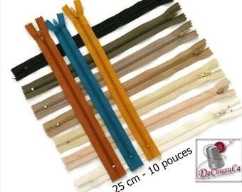 25cm, zipper, YKK, KKF,  #3, 10 inchs, varied color, nylon, perfect for wallets, clothing, repair, creation,
