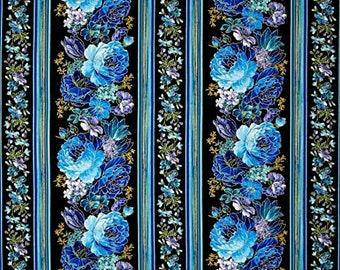 Roses blues, iridescent, black, 5872, Timeless Treasures, cotton quilt, cotton designer