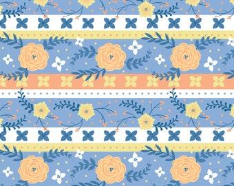 Strip, Flowers, orange, blue, Do what you love, 2241502, col 02, Camelot Fabrics, cotton, cotton quilt, cotton designer