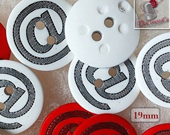 12 buttons, 19mm, (3/4 inch), @, red or white, fancy button, vintage, BF13